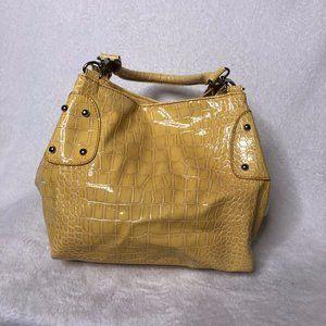 Womens Yellow Croc Embossed Satchel Shoulder Bag